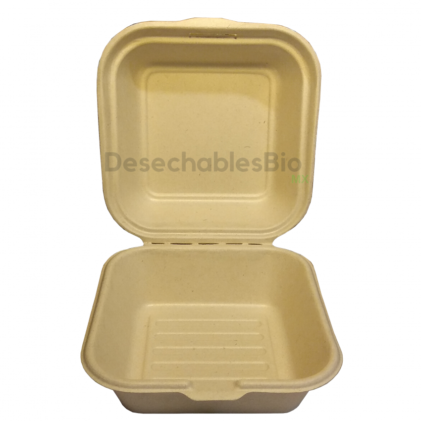 Desechables Bio México   Contenedor Almeja 6'' x 6'' Biodegradable 2