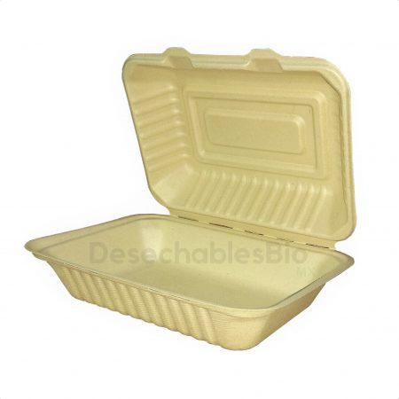 Contenedor Almeja 9''x6'' Biodegradable