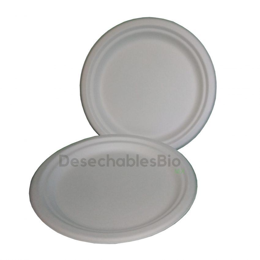 Desechables Bio México | Plato Liso 9'' Biodegradable de Bagazo de Caña 3