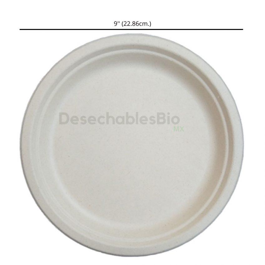 Desechables Bio México | Plato Liso 9'' Biodegradable de Bagazo de Caña 2