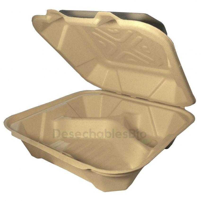 Contenedor Almeja 8''x8'' con 3 Divisiones Biodegradable