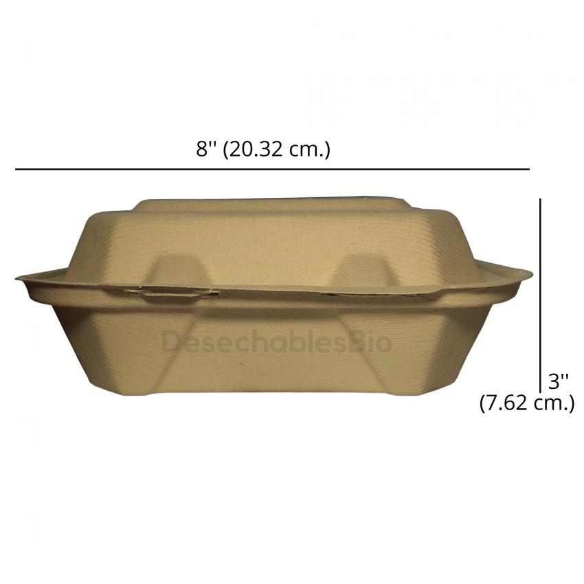 Desechables Bio México | Contenedor Almeja 8''x8'' con 3 Divisiones Biodegradable 2