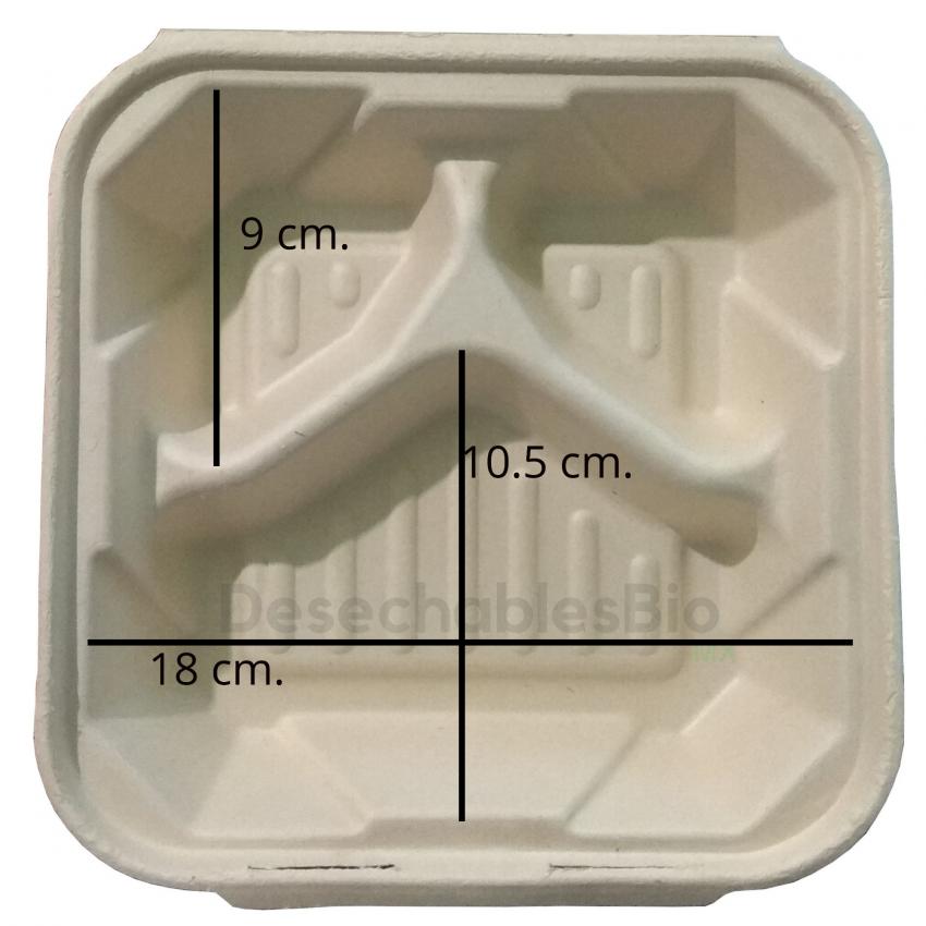 Desechables Bio México | Contenedor Almeja 8''x8'' con 3 Divisiones Biodegradable 3