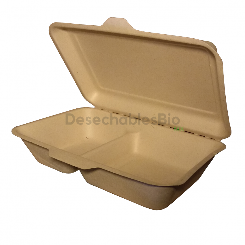 Desechables Bio México | Contenedor Almeja 9''x6'' con 2 Divisiones Biodegradable 4