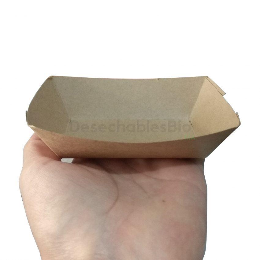 Desechables Bio México | Charola/Bandeja Para Comida Chica 10.5x7 cm. Cartón Kraft 5