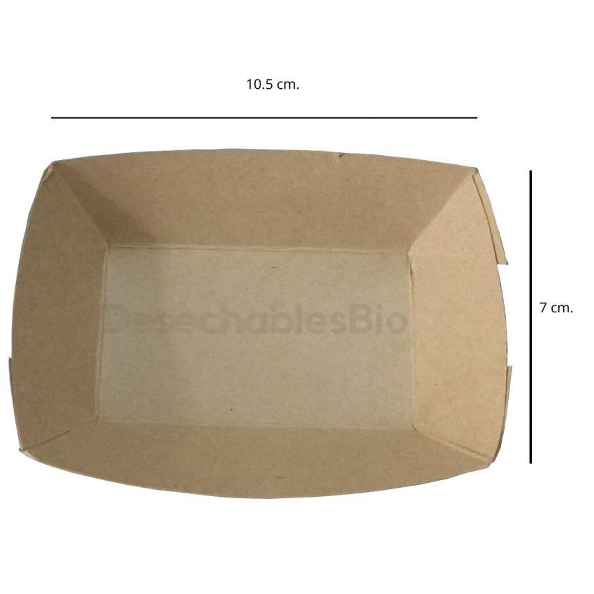 Desechables Bio México | Charola/Bandeja Para Comida Chica 10.5x7 cm. Cartón Kraft 2