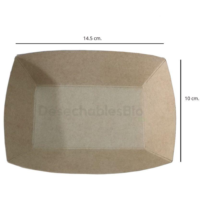 Desechables Bio México | Charola/Bandeja Para Comida Mediana 14.5x10 cm. Cartón Kraft 2
