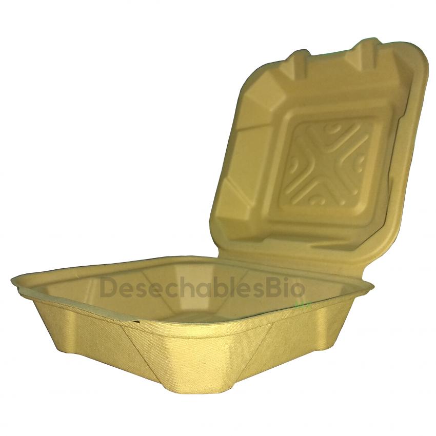 Desechables Bio México | Contenedor Almeja 8''x8'' liso Biodegradable 1