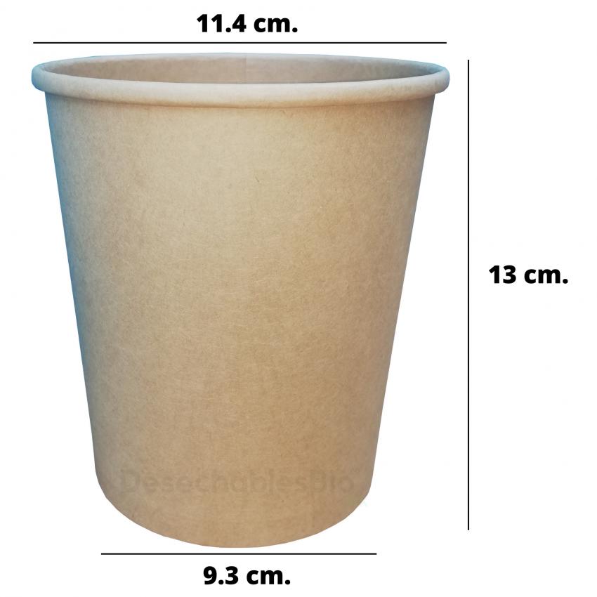 Desechables Bio México | Vaso Contenedor Térmico 32 Oz. Con Tapa Kraft Para Sopa o Helado 1