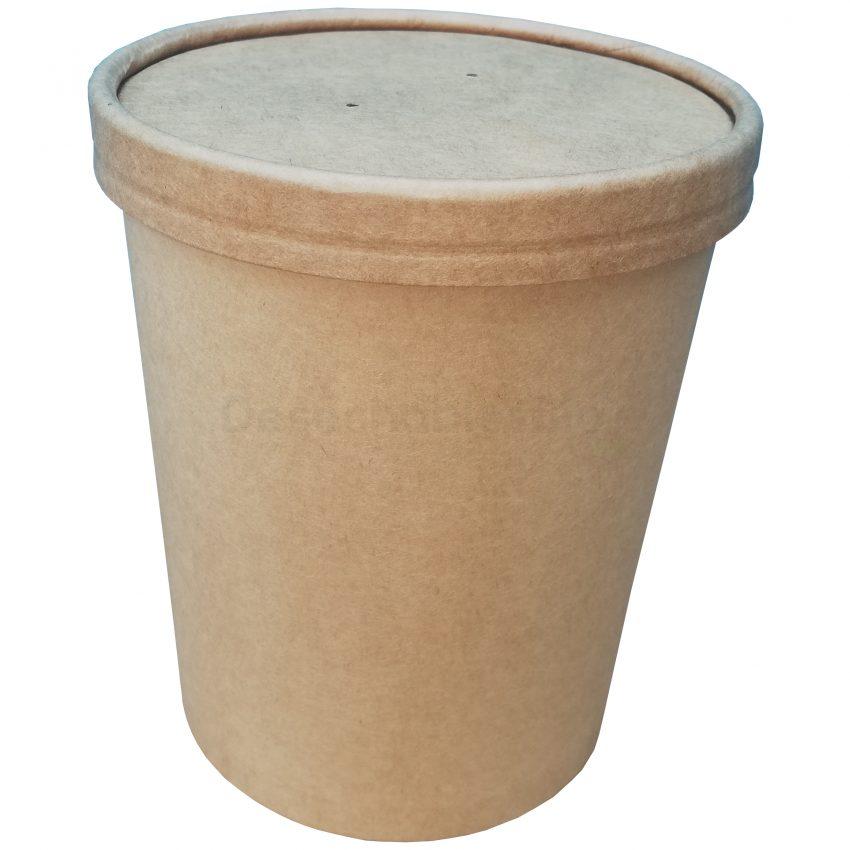 Desechables Bio México | Vaso Contenedor Térmico 32 Oz. Con Tapa Kraft Para Sopa o Helado 2