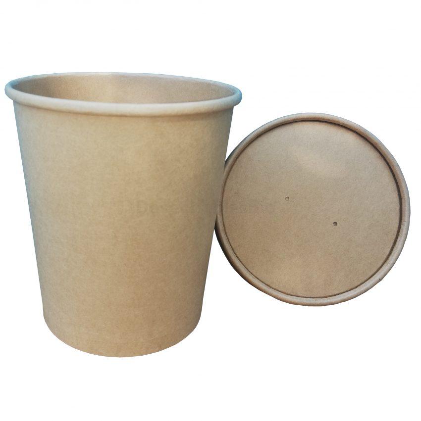 Vaso Contenedor Térmico 32 Oz. Con Tapa Kraft Para Sopa o Helado