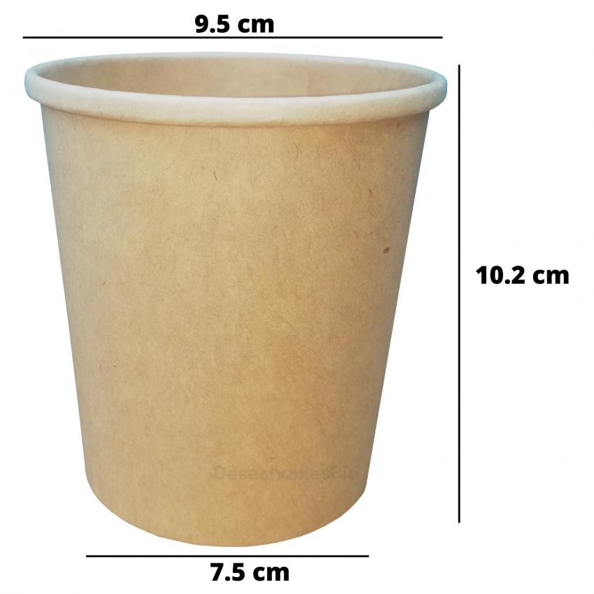 Desechables Bio México   Vaso Contenedor Térmico 16 Oz. Con Tapa Kraft Para Sopa o Helado 1