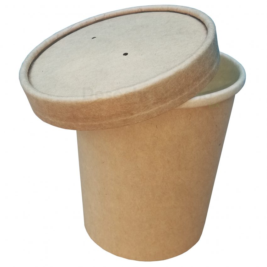Desechables Bio México   Vaso Contenedor Térmico 16 Oz. Con Tapa Kraft Para Sopa o Helado 2