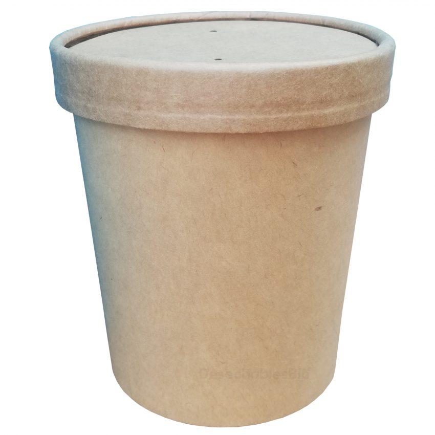Desechables Bio México   Vaso Contenedor Térmico 16 Oz. Con Tapa Kraft Para Sopa o Helado 3