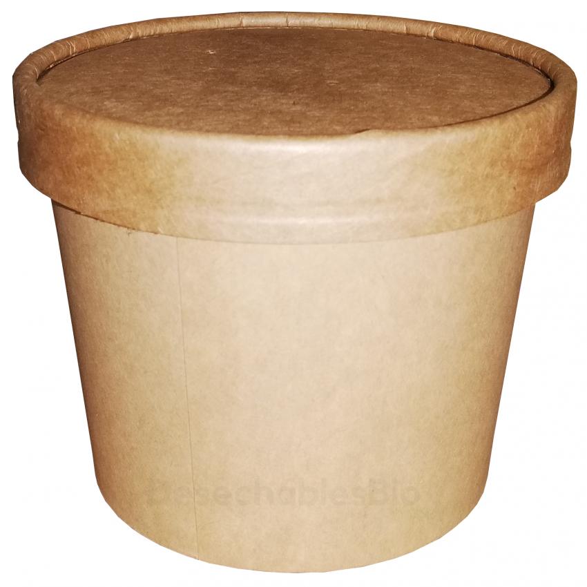 Vaso Contenedor Térmico 12 Oz. Con Tapa Kraft Para Sopa o Helado